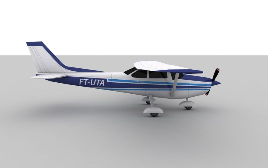 Cessna 172 Low Poly Skin 2 royalty-free 3d model - Preview no. 3