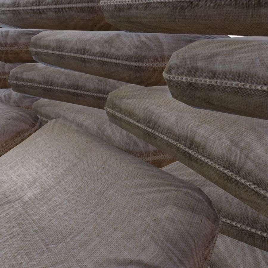 Sand bags royalty-free 3d model - Preview no. 7
