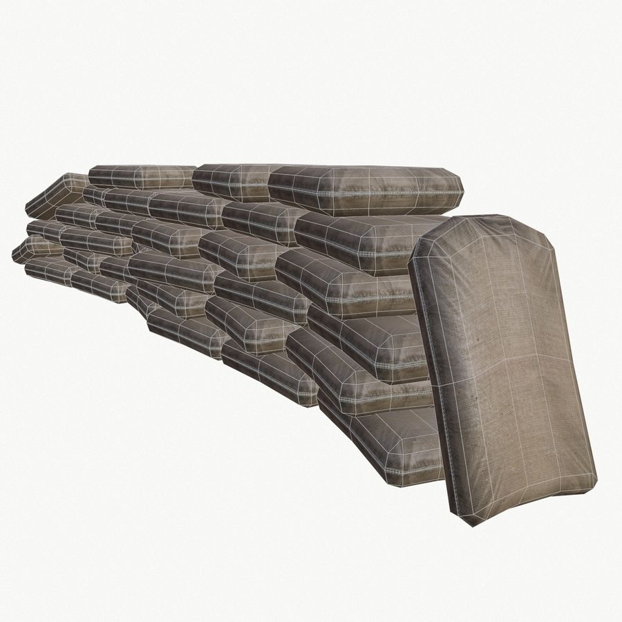 Sand bags royalty-free 3d model - Preview no. 6