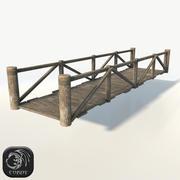 Wooden modular bridge low poly 3d model