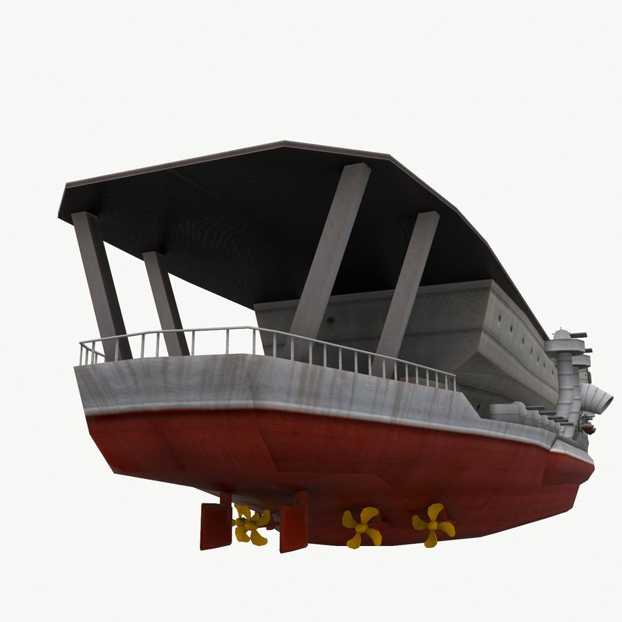 Kaga aircraft carrier royalty-free 3d model - Preview no. 10