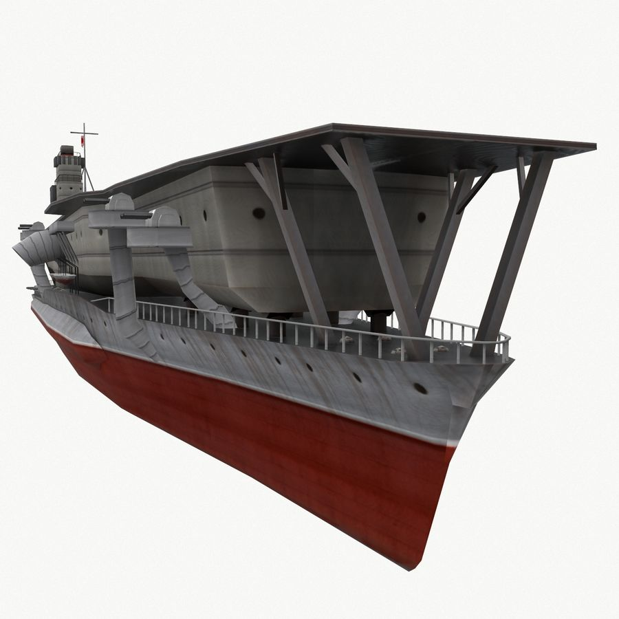 Kaga aircraft carrier royalty-free 3d model - Preview no. 12