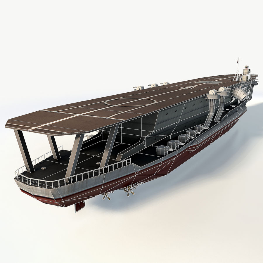 Kaga aircraft carrier royalty-free 3d model - Preview no. 5