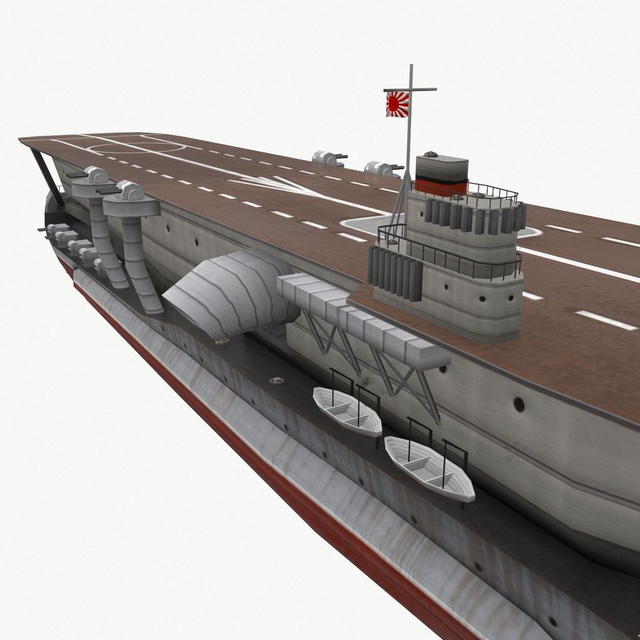 Kaga aircraft carrier royalty-free 3d model - Preview no. 14