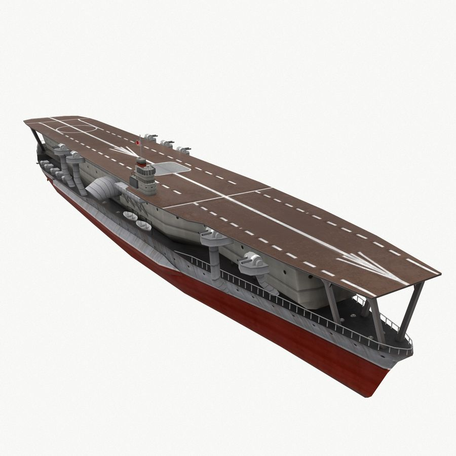 Kaga aircraft carrier royalty-free 3d model - Preview no. 8