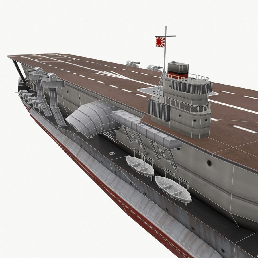 Kaga aircraft carrier royalty-free 3d model - Preview no. 15