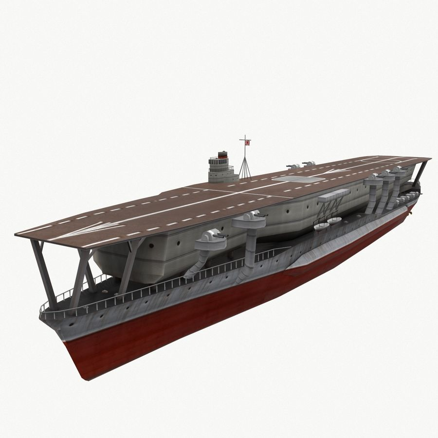 Kaga aircraft carrier royalty-free 3d model - Preview no. 6