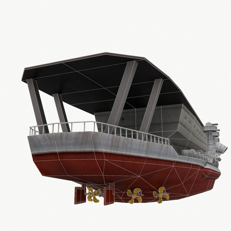 Kaga aircraft carrier royalty-free 3d model - Preview no. 11