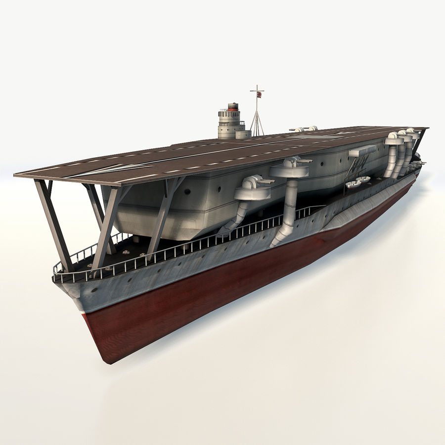 Kaga aircraft carrier royalty-free 3d model - Preview no. 2