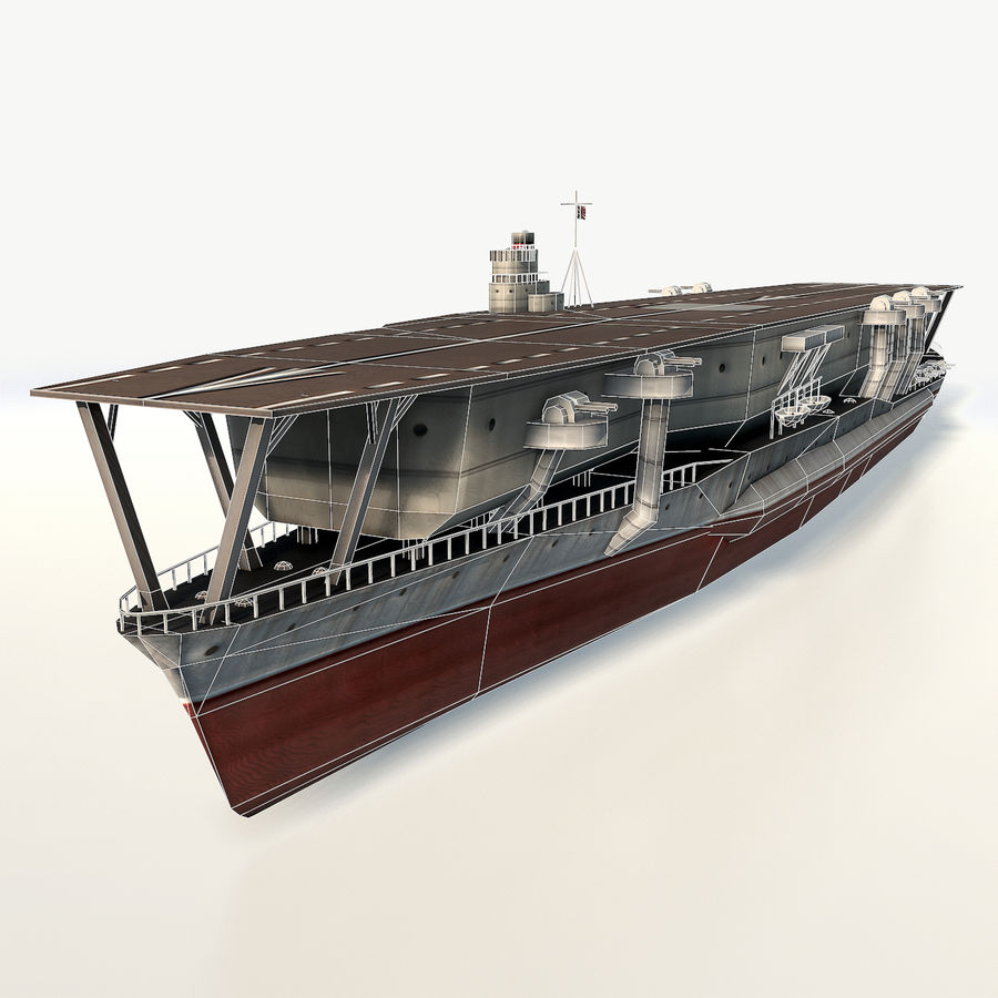 Kaga aircraft carrier royalty-free 3d model - Preview no. 3