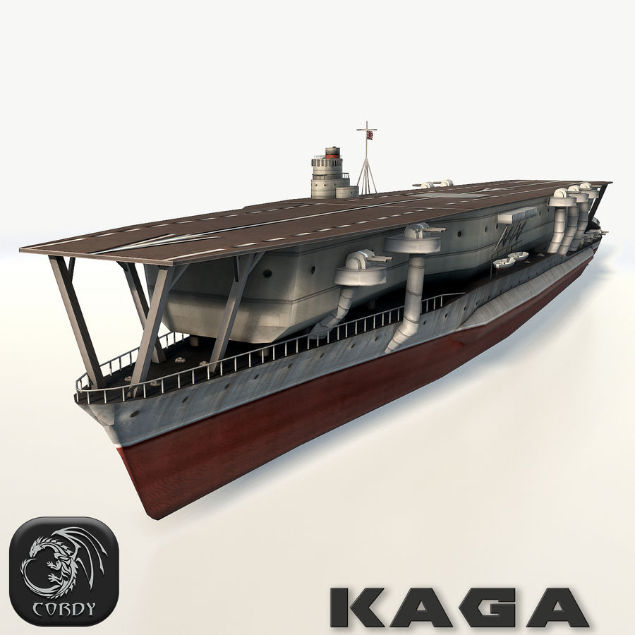 Kaga aircraft carrier royalty-free 3d model - Preview no. 1