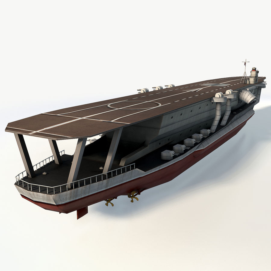 Kaga aircraft carrier royalty-free 3d model - Preview no. 4