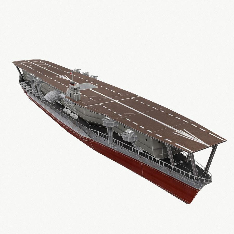 Kaga aircraft carrier royalty-free 3d model - Preview no. 9
