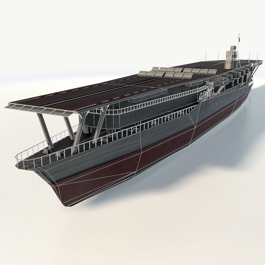 Akagi aircraft carrier royalty-free 3d model - Preview no. 8