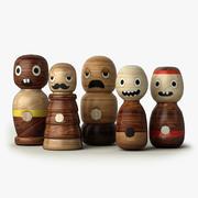 手工木制字符玩具 3d model