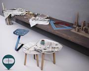 desk of architect 3d model