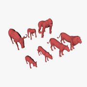 African animals base meshes 3d model