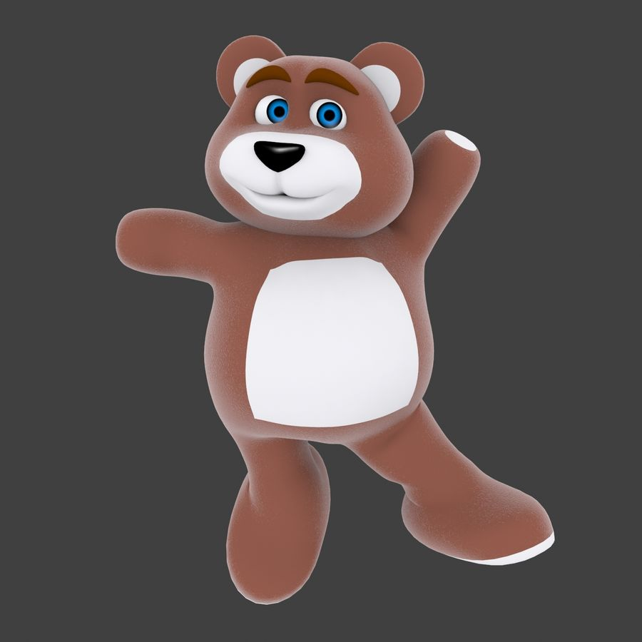 Cartoon Bear royalty-free 3d model - Preview no. 9