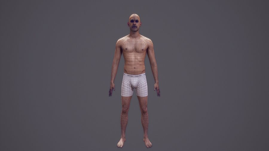 Hombre humano realista - Rig básico - LOD2048 - 169MBody royalty-free modelo 3d - Preview no. 2
