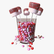 Valentines Marshmallow Pops 3d model