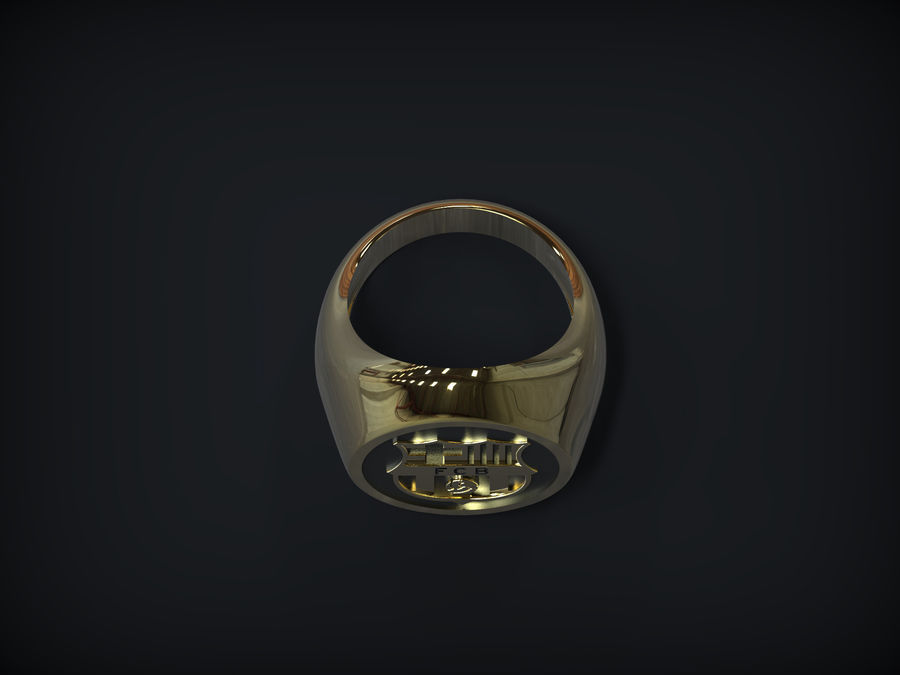 Ring FC Barcelona logo royalty-free 3d model - Preview no. 3