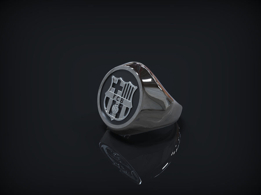 Ring FC Barcelona logo royalty-free 3d model - Preview no. 5