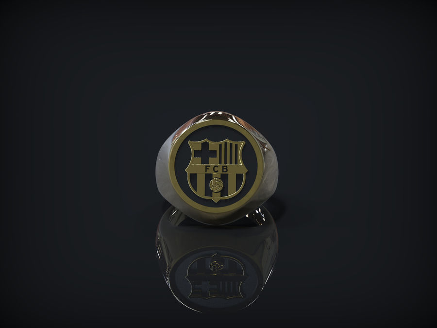 Ring FC Barcelona logo royalty-free 3d model - Preview no. 2