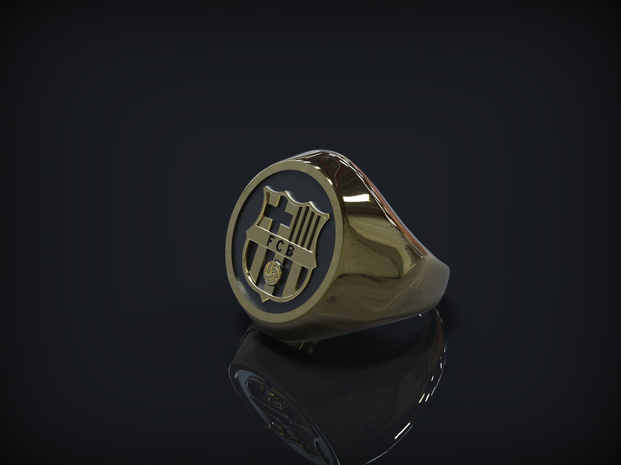 Ring FC Barcelona logo royalty-free 3d model - Preview no. 4