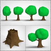 Niedrige Poly Toon Bäume 3d model