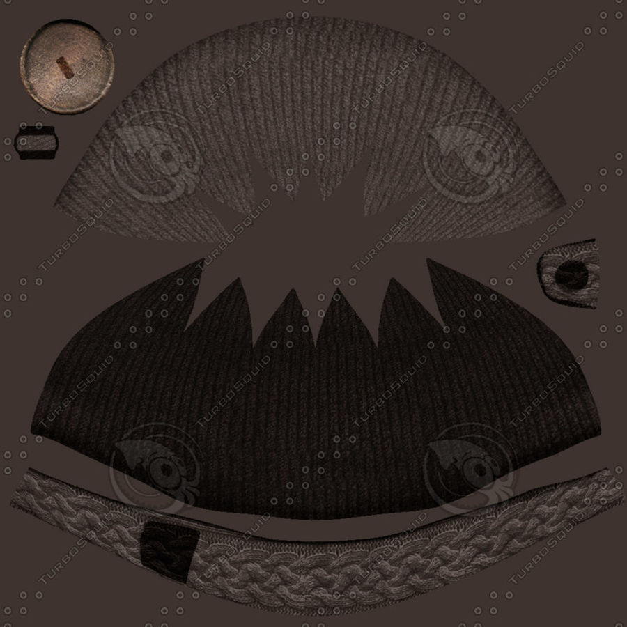 Knit Hat royalty-free 3d model - Preview no. 4