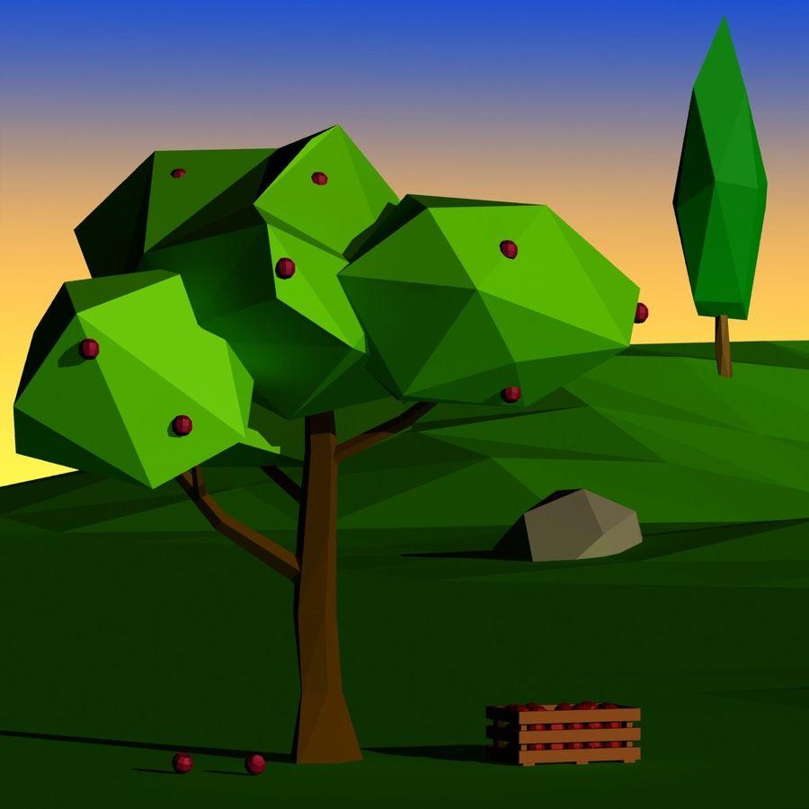 Cartoon laag poly minimalistische scène royalty-free 3d model - Preview no. 14