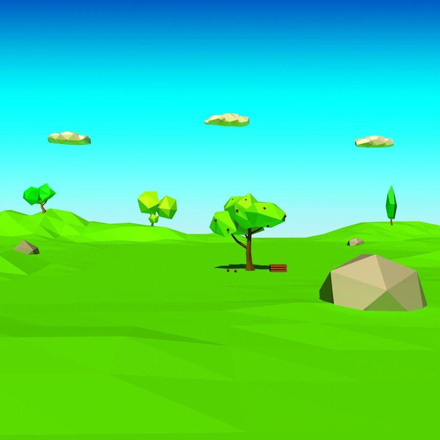Cartoon laag poly minimalistische scène royalty-free 3d model - Preview no. 19