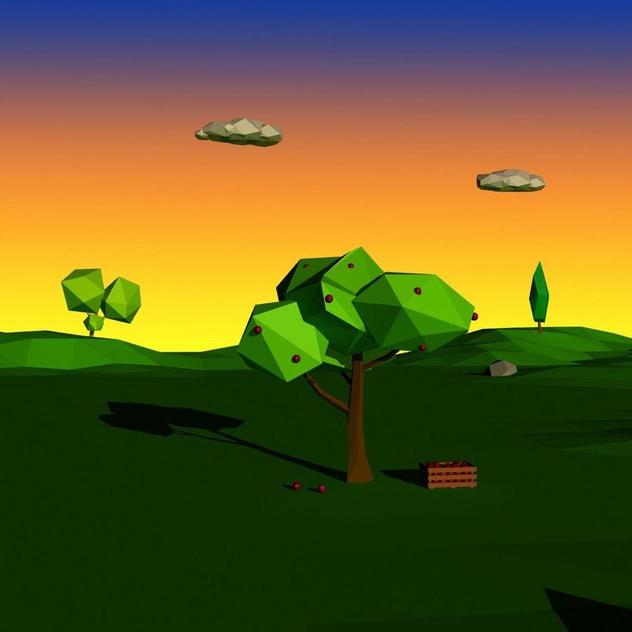 Cartoon laag poly minimalistische scène royalty-free 3d model - Preview no. 12