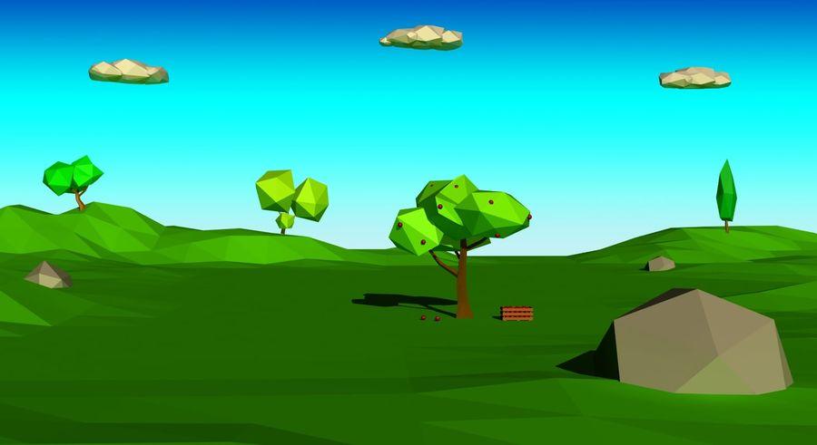 Cartoon laag poly minimalistische scène royalty-free 3d model - Preview no. 3