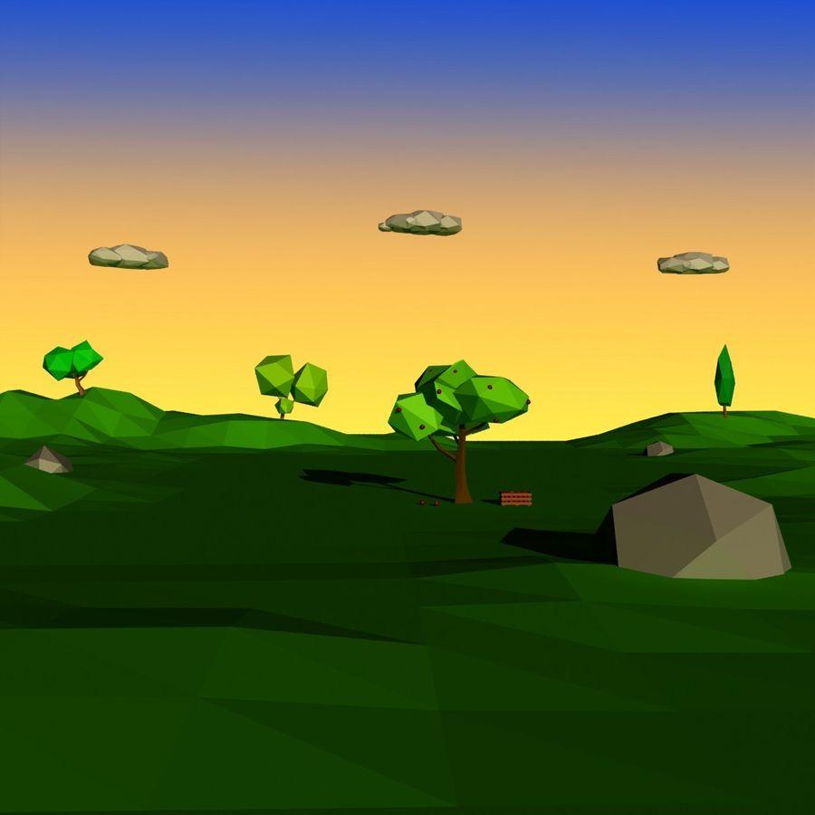 Cartoon laag poly minimalistische scène royalty-free 3d model - Preview no. 15