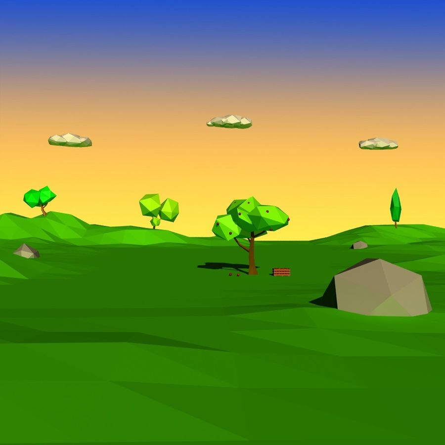 Cartoon laag poly minimalistische scène royalty-free 3d model - Preview no. 16