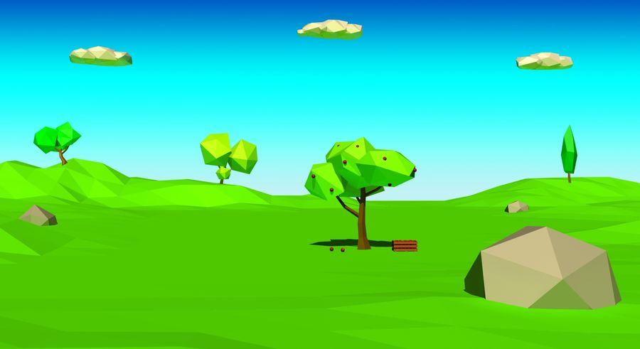 Cartoon laag poly minimalistische scène royalty-free 3d model - Preview no. 2