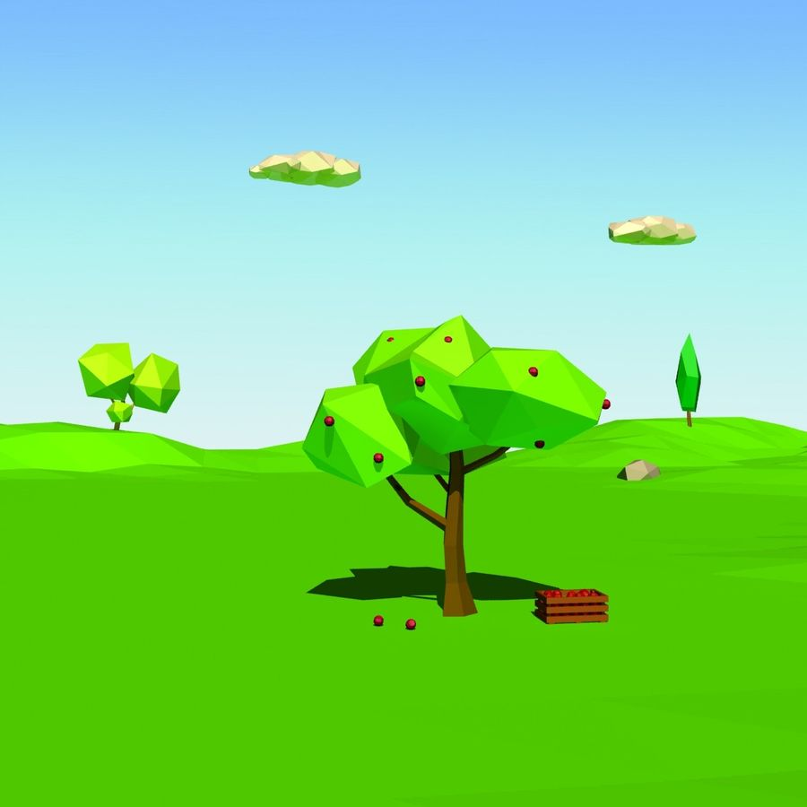 Cartoon laag poly minimalistische scène royalty-free 3d model - Preview no. 10