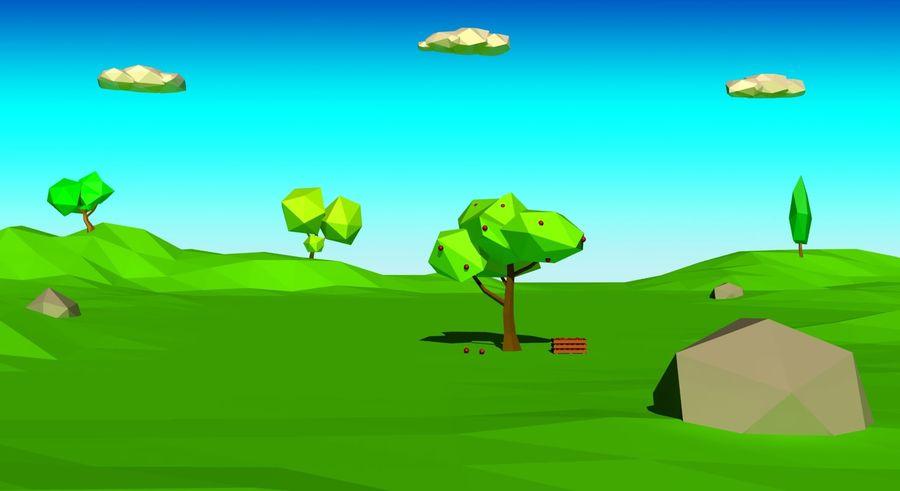 Cartoon laag poly minimalistische scène royalty-free 3d model - Preview no. 1