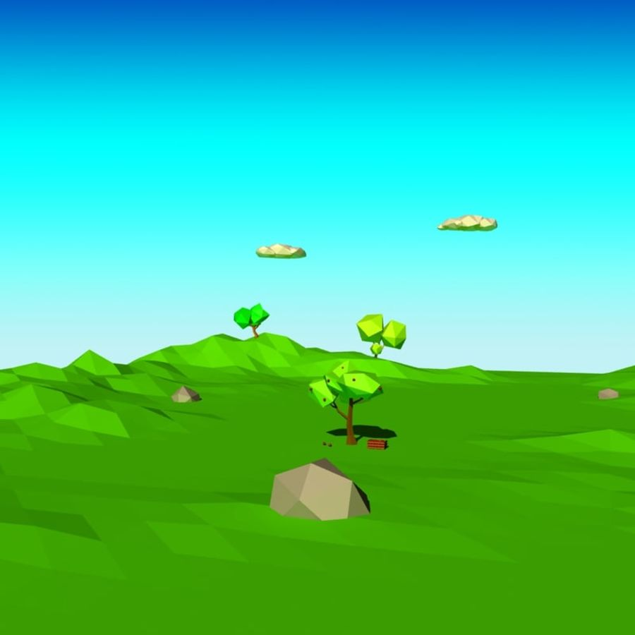 Cartoon laag poly minimalistische scène royalty-free 3d model - Preview no. 5