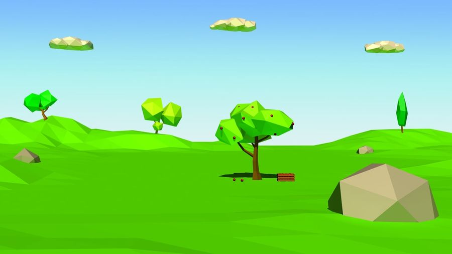 Cartoon laag poly minimalistische scène royalty-free 3d model - Preview no. 9