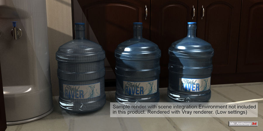 Water refill bottle container royalty-free 3d model - Preview no. 8