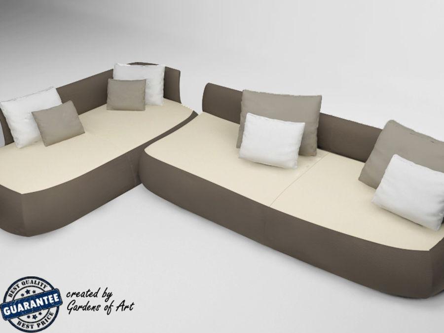 太いソファー royalty-free 3d model - Preview no. 2