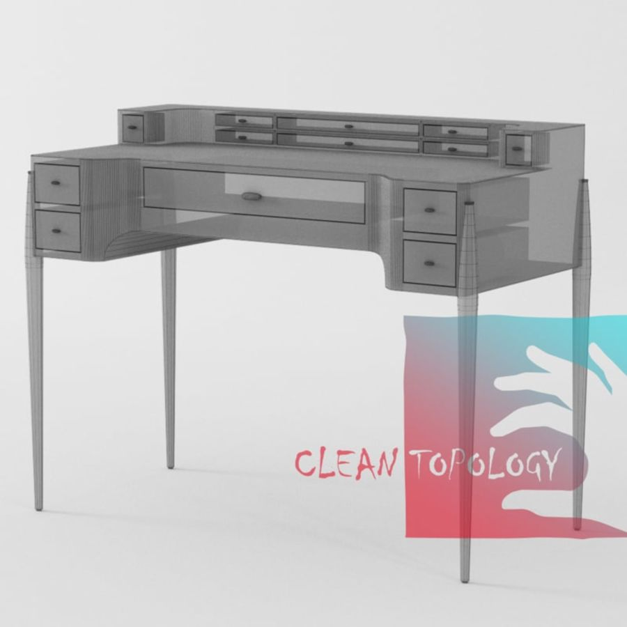 Desk Bureau & Dressing TEACH royalty-free 3d model - Preview no. 2