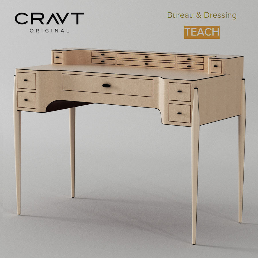 Desk Bureau & Dressing TEACH royalty-free 3d model - Preview no. 1