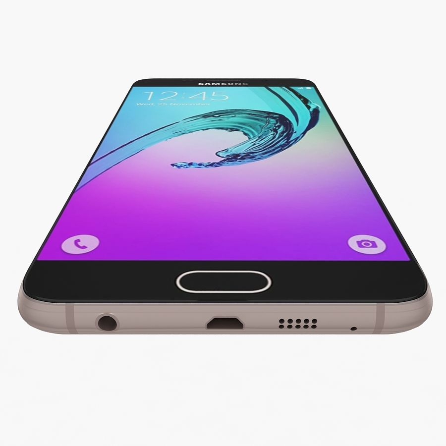 Samsung Galaxy A7 2016 Pink royalty-free 3d model - Preview no. 6