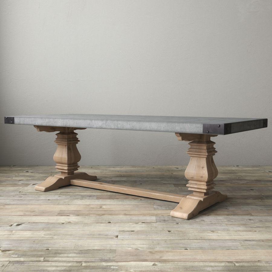 Salvaged Wood Concrete Trestle Rectangular Dining Table 3d Model 18 Fbx Max Free3d