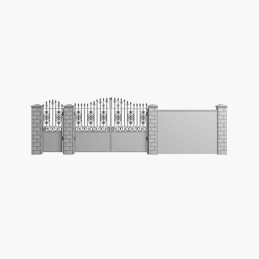 Portão de ferro forjado e cerca 05 royalty-free 3d model - Preview no. 9