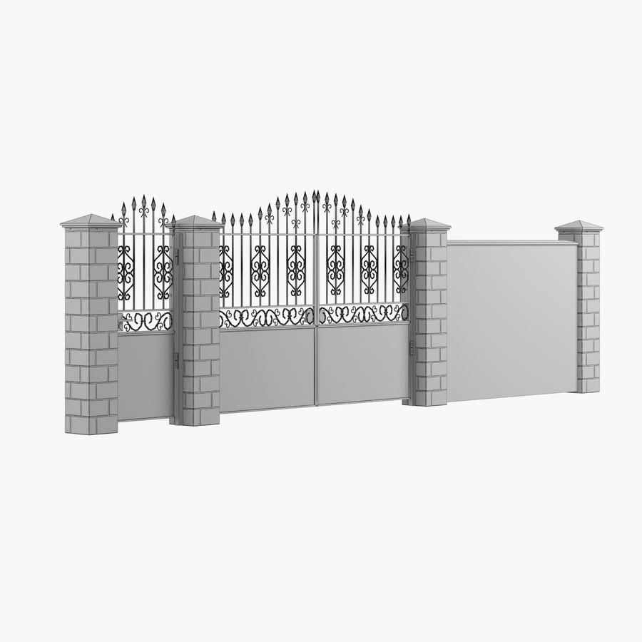 Portão de ferro forjado e cerca 05 royalty-free 3d model - Preview no. 7