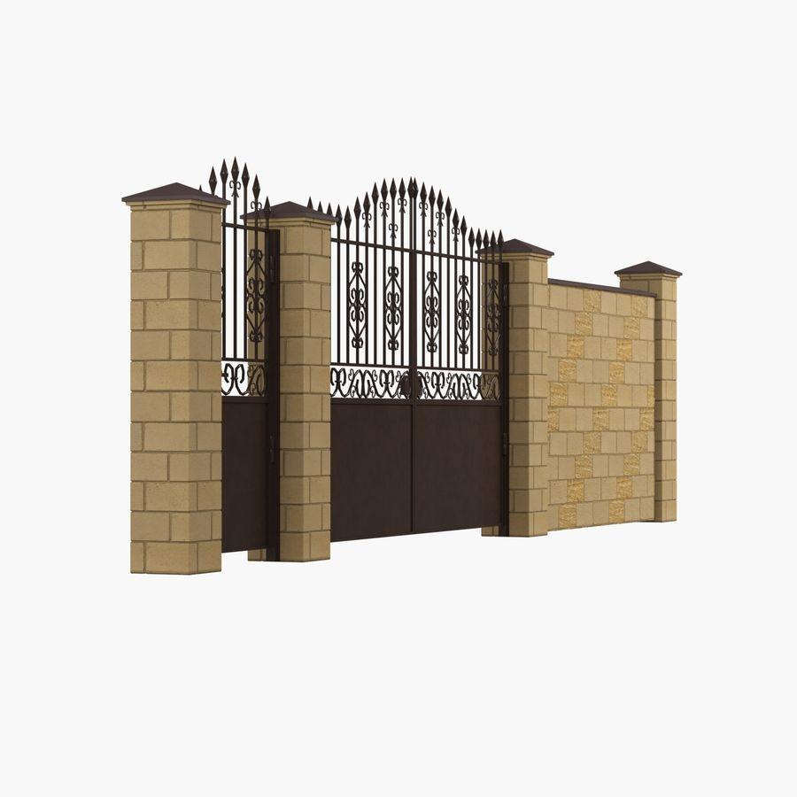 Portão de ferro forjado e cerca 05 royalty-free 3d model - Preview no. 4